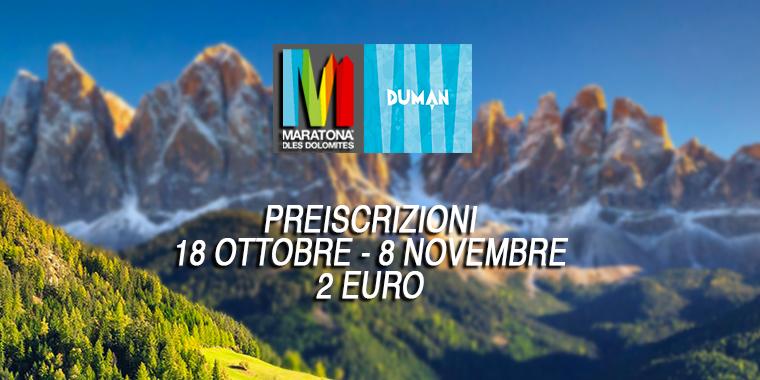 Banner Maratona delle Dolomiti 2019 preiscrizioni